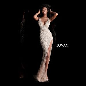 JOVANI 63405 Asymmetrical Beaded Illusion Gown